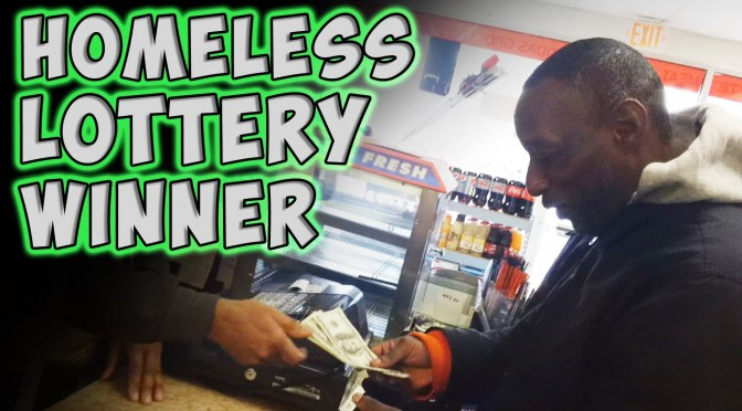 A Homeless Man Wins The Lottery In A Beautiful Way, With a Priceless Reaction!
