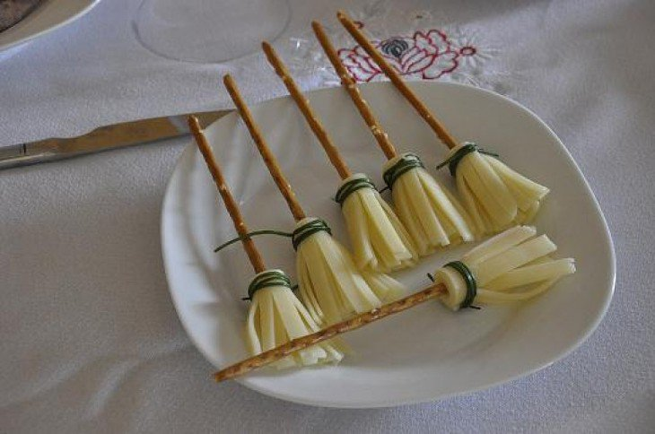 Halloween cheese brooms