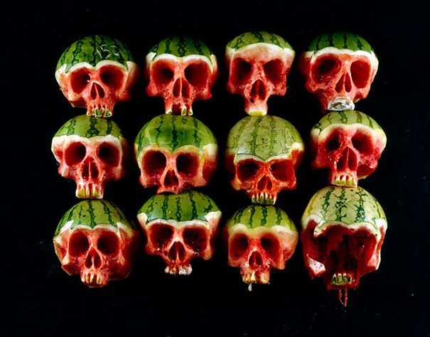 Halloween watermelon skulls